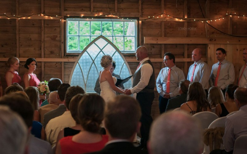 Wedding vows at the Hubbards Barn