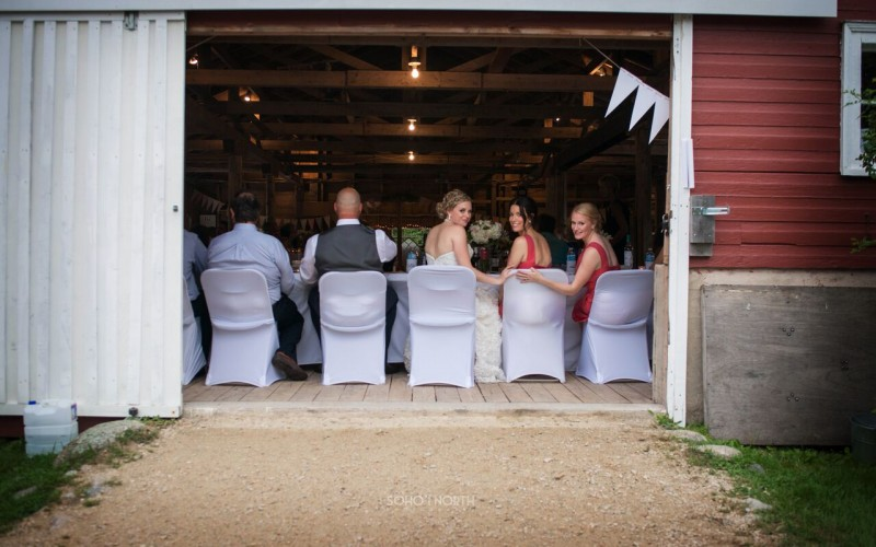 Wedding party sitting  just inside the barn doors